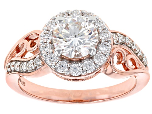 Photo of Moissanite Fire® 1.54ctw Dew Round 14k Rose Gold Over Sterling Silver Ring - Size 10