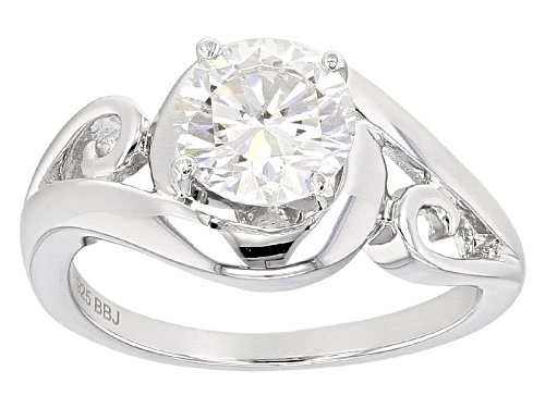 Photo of Moissanite Fire® 1.50ct Diamond Equivalent Weight Round Platineve™ Ring - Size 8