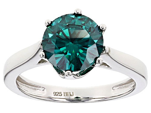 Photo of Moissanite Fire® Green 2.20ct Dew Round Platineve™ Ring - Size 10