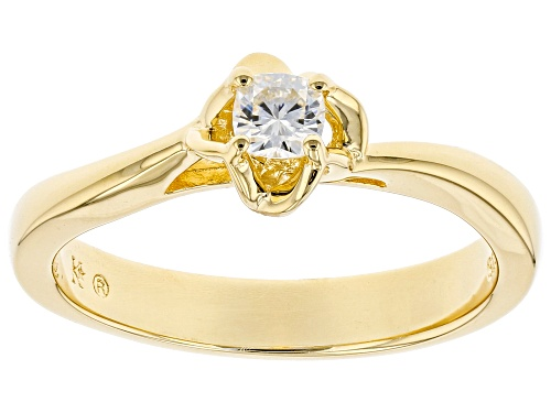 Photo of Moissanite Fire® .22ct Dew Cushion Cut 14k Yellow Gold Over Silver Ring - Size 10