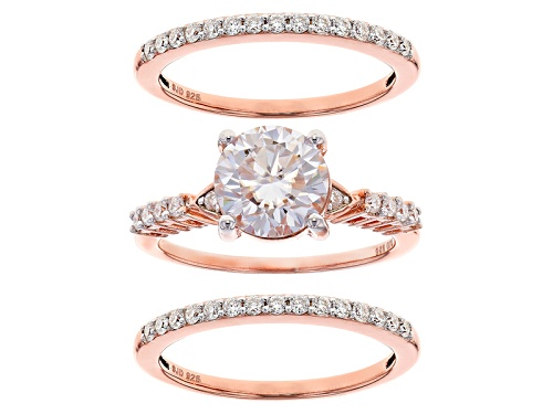 Photo of Moissanite Fire® 2.70ctw Dew 14k Rose Gold Over Sterling Silver Ring With Two Bands - Size 11