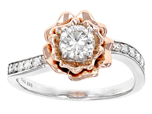 Photo of Moissanite Fire® .62ctw Dew Platineve™ And 14k Rose Gold Over Platineve Two Tone Ring - Size 8