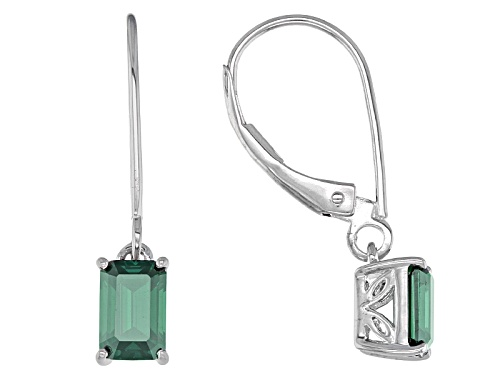 Photo of Moissanite Fire® Green 1.16ctw Diamond Equivalent Weight Emerald Cut Platineve™ Earrings