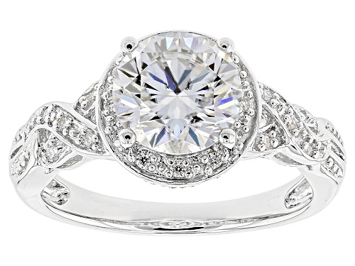 Photo of Moissanite Fire® 2.20ctw Diamond Equivalent Weight Round Platineve™ Ring - Size 11