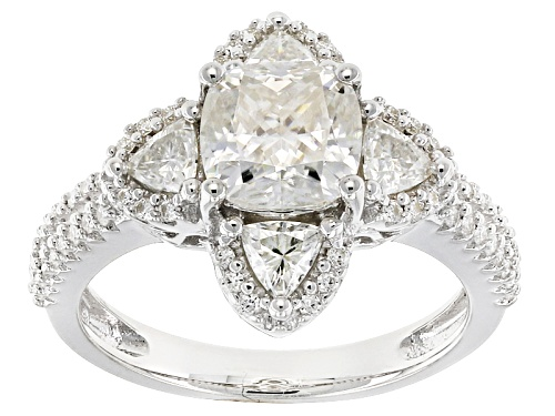 Photo of Moissanite Fire® 2.82ctw Dew Cushion And Trillion Cut With Round Platineve™ Ring - Size 5