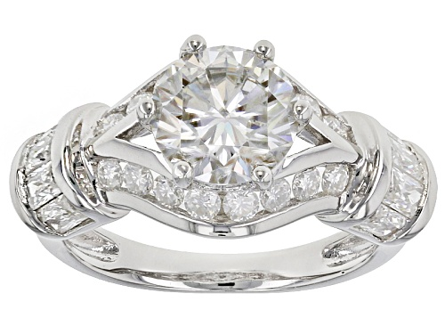 Photo of Moissanite Fire® 3.10ctw Diamond Equivalent Weight Round And Baguette Platineve™ Ring - Size 6