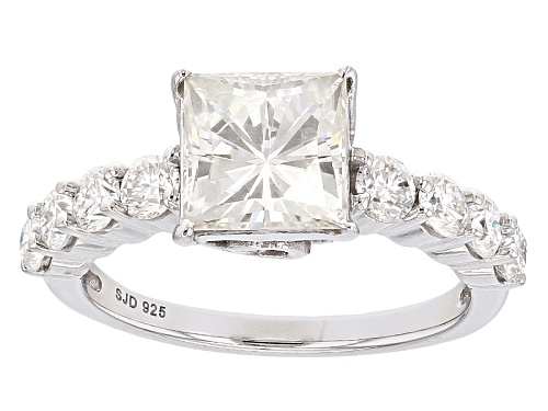 Photo of Moissanite Fire® 2.90ctw Diamond Equivalent Weight Square Brilliant And Round Platineve™ Ring - Size 10