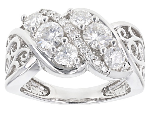 Photo of Moissanite Fire® 1.29ctw Diamond Equivalent Weight Round Platineve™ Ring - Size 6