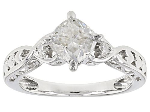 Photo of Moissanite Fire® 1.36ctw Dew Cushion Cut And Round Platineve™ Ring - Size 10