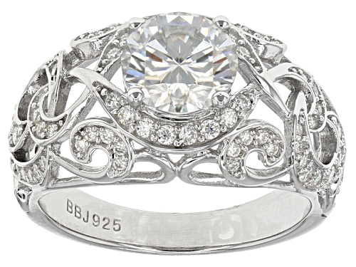 Photo of Moissanite Fire® 2.42ctw Diamond Equivalent Weight Round Platineve™ Ring - Size 7