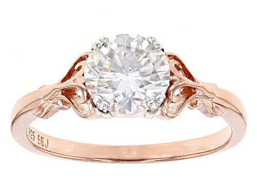 Photo of Moissanite Fire® 1.20ct Dew Round 14k Rose Gold Over Silver Ring - Size 10