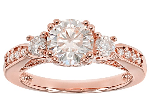Photo of Moissanite Fire® 1.60ctw Dew Round 14k Rose Gold Over Sterling Silver Ring - Size 10