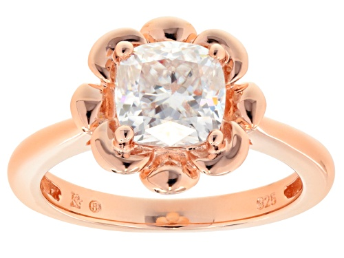 Photo of Moissanite Fire® 1.70ct Dew Cushion Cut 14k Rose Gold Over Sterling Silver Ring - Size 10