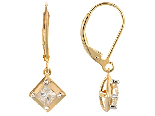Photo of Moissanite Fire® .82ctw Dew Square Brilliant 14k Yellow Gold Over Sterling Silver Earrings