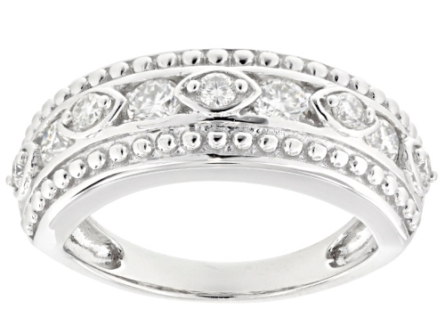 Photo of Moissanite Fire® .72ctw Diamond Equivalent Weight Round Platineve™ Ring. - Size 6