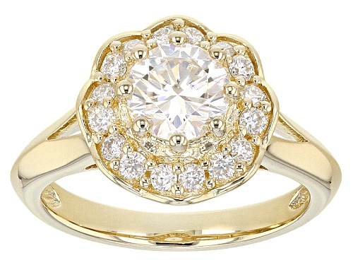 Photo of Moissanite Fire® 1.48ctw Dew Round 14k Yellow Gold Over Silver Ring - Size 6