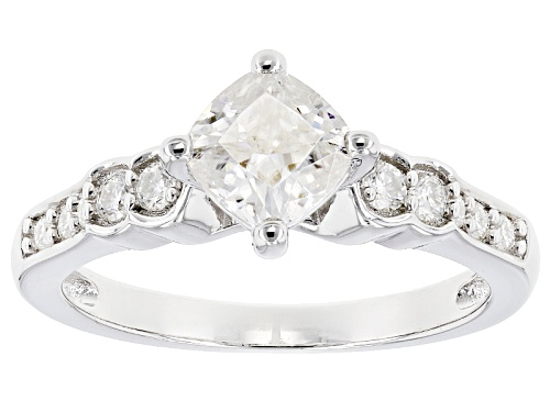 Photo of Moissanite Fire® 1.34ctw Dew Cushion Cut And Round Platineve™ Ring - Size 10