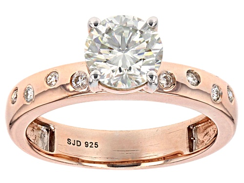 Photo of Moissanite Fire® 1.28ctw Dew Round 14k Rose Gold Over Sterling Silver Ring - Size 11