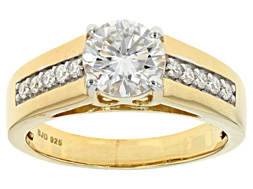Moissanite Fire® 1.40ctw Dew Round 14k Yellow Gold Over Silver Ring - Size 7
