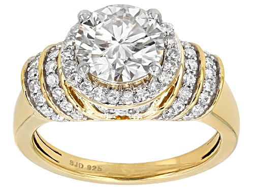 Photo of Moissanite Fire® 2.54ctw Dew Round 14k Yellow Gold Over Silver Ring - Size 8