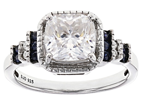 Photo of Moissanite Fire® 2.04ctw Dew And .20ctw Blue Sapphire Platineve™ Ring - Size 6