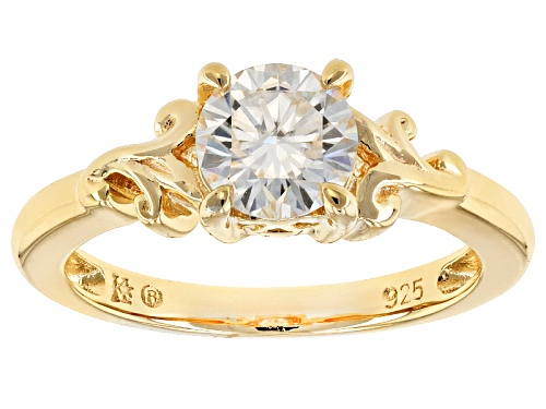 Photo of Moissanite Fire® 1.00ct Dew Round 14k Yellow Gold Over Silver Ring - Size 11
