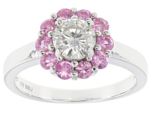 Photo of Moissanite Fire® .80ct Dew And .80ctw Pink Sapphire  Platineve™ Ring - Size 11