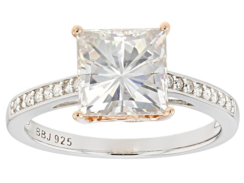 Photo of Moissanite Fire® 3.26ctw Dew Platineve™ And 14k Rose Gold Over Platineve Two Tone Ring - Size 11