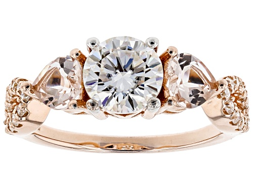 Photo of Moissanite Fire® 1.46ctw Dew Round And .80ctw Heart Shape Morganite 14k Rose Gold Over Silver Ring - Size 5