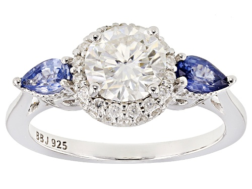 Photo of Moissanite Fire® 1.51ctw Dew And .52ctw Blue Sapphire Platineve™ Ring - Size 10