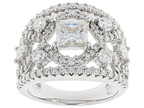 Photo of Moissanite Fire® 3.16ctw Dew Princess Cut And Round Platineve™ Ring - Size 7