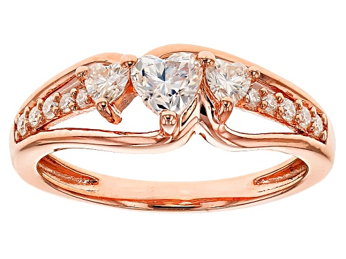 Photo of Moissanite Fire® .68ctw Dew Heart Shape And Round 14k Rose Gold Over Silver Ring - Size 7