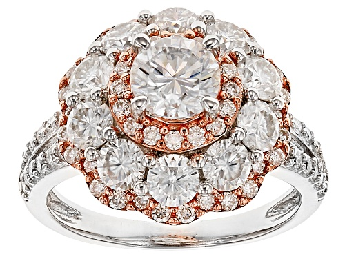 Photo of Moissanite Fire® 3.10ctw Dew Platineve™ And 14k Rose Gold Over Platineve™ Two Tone Ring - Size 7