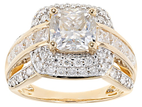 Photo of Moissanite Fire® 4.04ctw Dew 14k Yellow Gold Over Silver Ring - Size 11