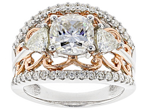 Photo of Moissanite Fire® 3.28ctw Platineve™ And 14k Rose Gold Over Platineve™ Two Tone Ring - Size 5