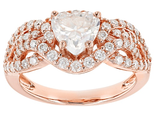 Photo of Moissanite Fire® 2.24ctw Dew Heart Shape And Round 14k Rose Gold Over Sterling Silver Ring - Size 6