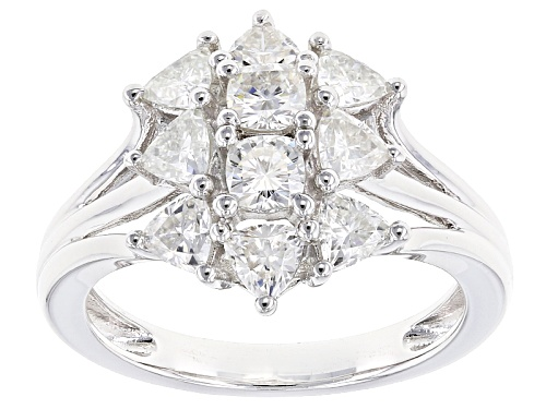 Photo of Moissanite Fire® 1.56ctw Diamond Equivalent Weight Trillion And Cushion Cut Platineve™ Ring - Size 10