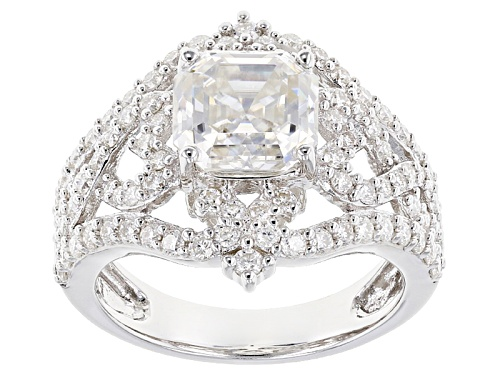 Photo of Moissanite Fire® 4.26ctw Dew Asscher Cut And Round Platineve™ Ring - Size 5