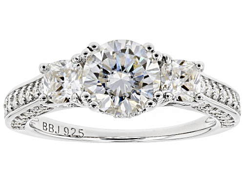 Photo of Moissanite Fire® 2.46ctw Diamond Equivalent Weight Round And Cushion Cut Platineve™ Ring - Size 10