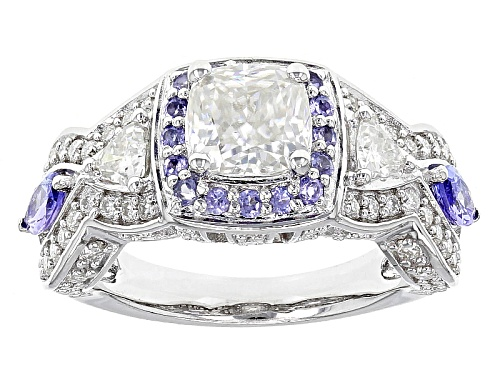 Photo of Moissanite Fire® 2.42ctw Dew And .60ctw Tanzanite Platineve™ Ring - Size 5