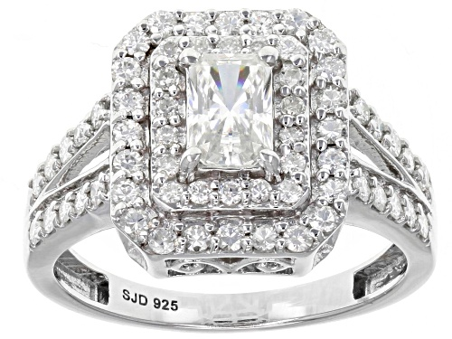 Photo of Moissanite Fire® 1.32ctw Diamond Equivalent Weight Radiant Cut And Round Platineve™ Ring - Size 11