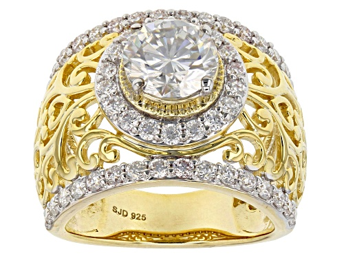 Photo of Moissanite Fire® 3.40ctw Dew Round 14k Yellow Gold Over Silver Ring - Size 6