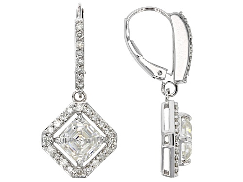 Photo of Moissanite Fire® 3.56ctw Dew Asscher Cut And Round Platineve™ Earrings