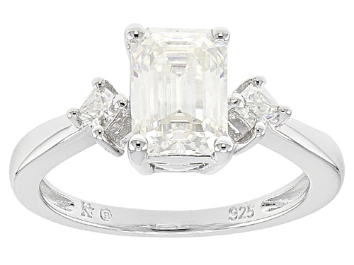Photo of Moissanite Fire® 1.95ctw Dew Emerald Cut  And Princess Cut Platineve™ Ring - Size 10