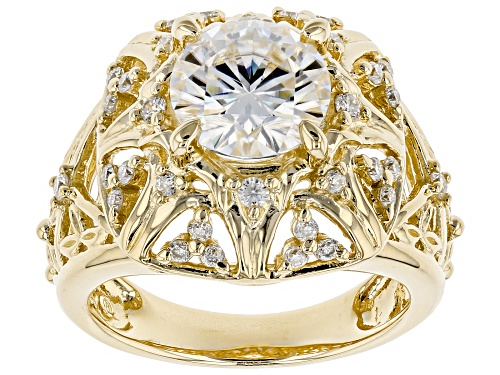 Photo of Moissanite Fire® 2.60ctw Dew Round 14k Yellow Gold Over Sterling Silver Ring - Size 6