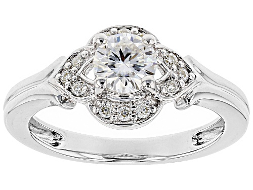 Photo of Moissanite Fire® .72ctw Diamond Equivalent Weight Round Platineve™ Ring - Size 10