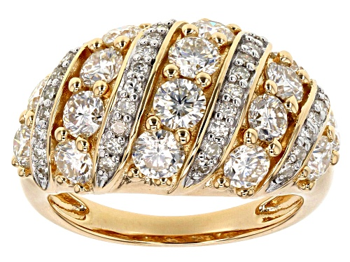 Photo of Moissianite Fire® 2.56ctw DEW Round 14k Yellow Gold Over Sterling Silver Ring - Size 7