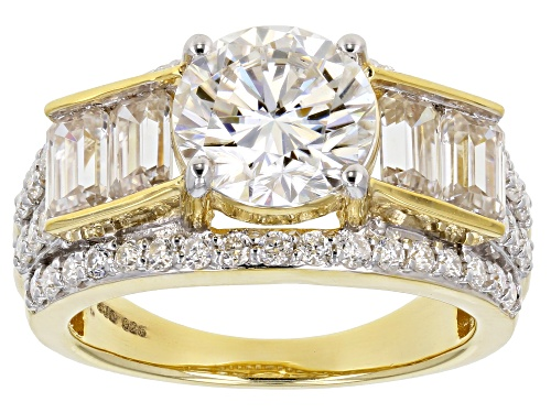 Photo of MOISSANITE FIRE(R) 4.20CTW DEW ROUND AND EMERALD CUT 14K YELLOW GOLD OVER SILVER RING - Size 8.5