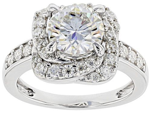 Photo of MOISSANITE FIRE® 2.68CTW DEW ROUND PLATINEVE™ RING - Size 11