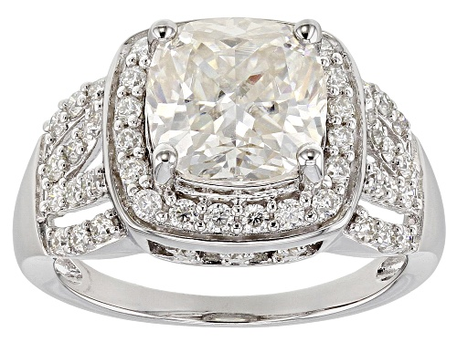 Photo of MOISSANITE FIRE® 4.32CTW DIAMOND EQUIVALENT WEIGHT CUSHION CUT AND ROUND PLATINEVE™ RING - Size 8
